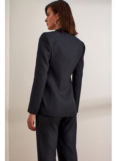 Setre Siyah Kruvaze Kesim Blazer Ceket Siyah